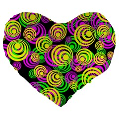 Bright Yellow Pink And Green Neon Circles Large 19  Premium Heart Shape Cushions by PodArtist