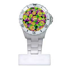 Bright Yellow Pink And Green Neon Circles Plastic Nurses Watch by PodArtist