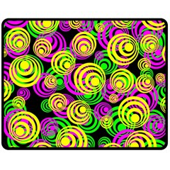Bright Yellow Pink And Green Neon Circles Double Sided Fleece Blanket (medium)  by PodArtist