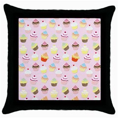 Baby Pink Valentines Cup Cakes Throw Pillow Case (black) by PodArtist
