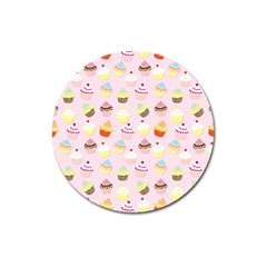 Baby Pink Valentines Cup Cakes Magnet 3  (round) by PodArtist
