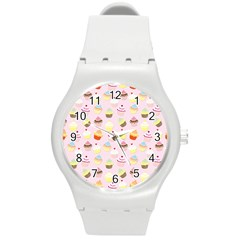 Baby Pink Valentines Cup Cakes Round Plastic Sport Watch (m) by PodArtist
