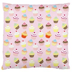 Baby Pink Valentines Cup Cakes Large Cushion Case (two Sides) by PodArtist
