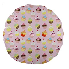 Baby Pink Valentines Cup Cakes Large 18  Premium Round Cushions by PodArtist