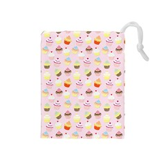Baby Pink Valentines Cup Cakes Drawstring Pouches (medium)  by PodArtist