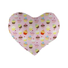 Baby Pink Valentines Cup Cakes Standard 16  Premium Flano Heart Shape Cushions by PodArtist