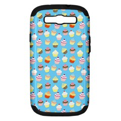 Pale Pastel Blue Cup Cakes Samsung Galaxy S Iii Hardshell Case (pc+silicone) by PodArtist