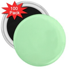 Classic Mint Green & White Herringbone Pattern 3  Magnets (100 Pack) by PodArtist