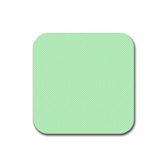 Classic Mint Green & White Herringbone Pattern Rubber Coaster (square)  by PodArtist