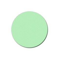 Classic Mint Green & White Herringbone Pattern Rubber Coaster (round)  by PodArtist