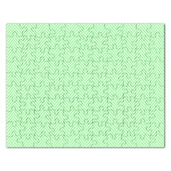 Classic Mint Green & White Herringbone Pattern Rectangular Jigsaw Puzzl