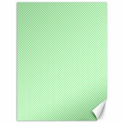Classic Mint Green & White Herringbone Pattern Canvas 36  X 48   by PodArtist
