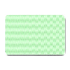 Classic Mint Green & White Herringbone Pattern Small Doormat  by PodArtist