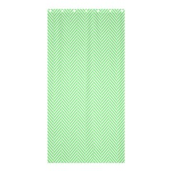 Classic Mint Green & White Herringbone Pattern Shower Curtain 36  X 72  (stall)  by PodArtist
