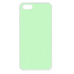Classic Mint Green & White Herringbone Pattern Apple Iphone 5 Seamless Case (white) by PodArtist