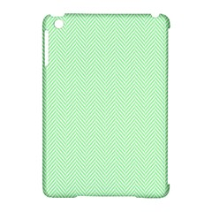 Classic Mint Green & White Herringbone Pattern Apple Ipad Mini Hardshell Case (compatible With Smart Cover) by PodArtist