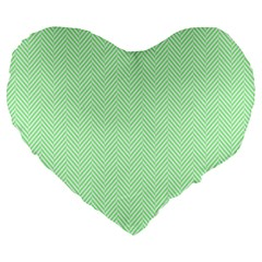 Classic Mint Green & White Herringbone Pattern Large 19  Premium Heart Shape Cushions by PodArtist