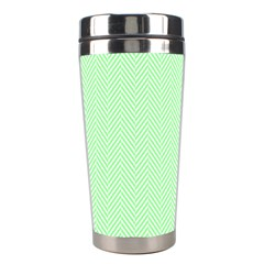 Classic Mint Green & White Herringbone Pattern Stainless Steel Travel Tumblers by PodArtist