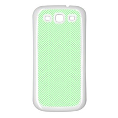 Classic Mint Green & White Herringbone Pattern Samsung Galaxy S3 Back Case (white) by PodArtist