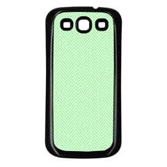 Classic Mint Green & White Herringbone Pattern Samsung Galaxy S3 Back Case (black) by PodArtist