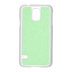 Classic Mint Green & White Herringbone Pattern Samsung Galaxy S5 Case (white) by PodArtist