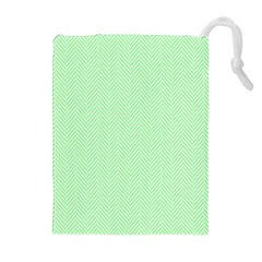 Classic Mint Green & White Herringbone Pattern Drawstring Pouches (extra Large) by PodArtist
