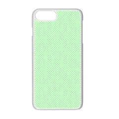 Classic Mint Green & White Herringbone Pattern Apple Iphone 7 Plus Seamless Case (white) by PodArtist