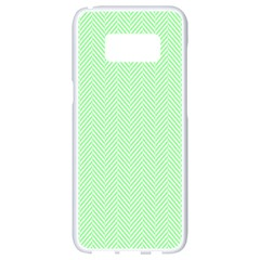 Classic Mint Green & White Herringbone Pattern Samsung Galaxy S8 White Seamless Case by PodArtist