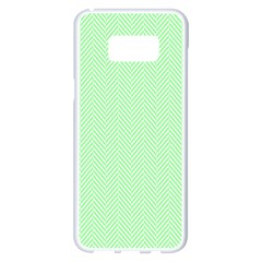 Classic Mint Green & White Herringbone Pattern Samsung Galaxy S8 Plus White Seamless Case by PodArtist