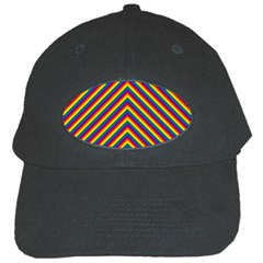Gay Pride Flag Rainbow Chevron Stripe Black Cap by PodArtist