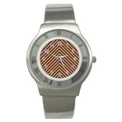 Gay Pride Flag Rainbow Chevron Stripe Stainless Steel Watch by PodArtist