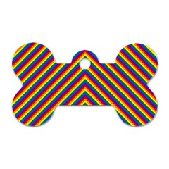 Gay Pride Flag Rainbow Chevron Stripe Dog Tag Bone (two Sides) by PodArtist