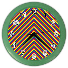 Gay Pride Flag Rainbow Chevron Stripe Color Wall Clocks by PodArtist
