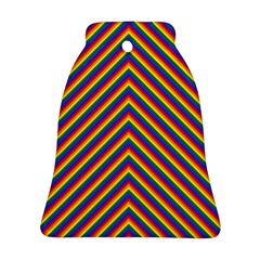 Gay Pride Flag Rainbow Chevron Stripe Bell Ornament (two Sides) by PodArtist