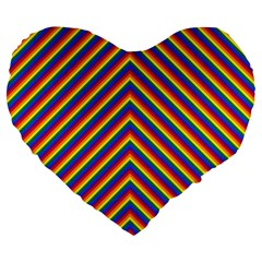 Gay Pride Flag Rainbow Chevron Stripe Large 19  Premium Heart Shape Cushions by PodArtist