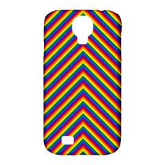 Gay Pride Flag Rainbow Chevron Stripe Samsung Galaxy S4 Classic Hardshell Case (pc+silicone) by PodArtist