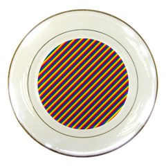 Gay Pride Flag Candy Cane Diagonal Stripe Porcelain Plates by PodArtist
