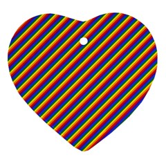 Gay Pride Flag Candy Cane Diagonal Stripe Heart Ornament (two Sides) by PodArtist