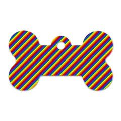 Gay Pride Flag Candy Cane Diagonal Stripe Dog Tag Bone (two Sides) by PodArtist