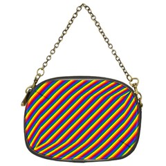 Gay Pride Flag Candy Cane Diagonal Stripe Chain Purses (two Sides)  by PodArtist