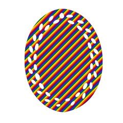 Gay Pride Flag Candy Cane Diagonal Stripe Oval Filigree Ornament (two Sides) by PodArtist