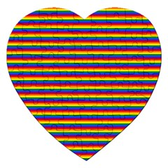 Horizontal Gay Pride Rainbow Flag Pin Stripes Jigsaw Puzzle (heart) by PodArtist