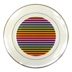 Horizontal Gay Pride Rainbow Flag Pin Stripes Porcelain Plates by PodArtist
