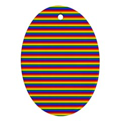 Horizontal Gay Pride Rainbow Flag Pin Stripes Oval Ornament (two Sides) by PodArtist