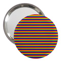 Horizontal Gay Pride Rainbow Flag Pin Stripes 3  Handbag Mirrors by PodArtist