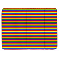 Horizontal Gay Pride Rainbow Flag Pin Stripes Samsung Galaxy Tab 7  P1000 Flip Case by PodArtist