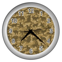 Operation Desert Cat Camouflage Catmouflage Wall Clocks (silver)  by PodArtist