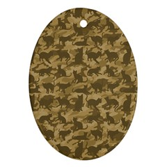 Operation Desert Cat Camouflage Catmouflage Oval Ornament (two Sides) by PodArtist