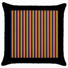 Vertical Gay Pride Rainbow Flag Pin Stripes Throw Pillow Case (black) by PodArtist