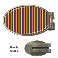 Vertical Gay Pride Rainbow Flag Pin Stripes Money Clips (oval)  by PodArtist